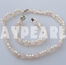 white pearl and rose quartze necklace bracelet set