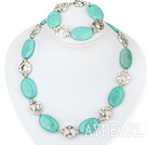 turquoise tibet silver necklace bracelet set with moonlight clasp