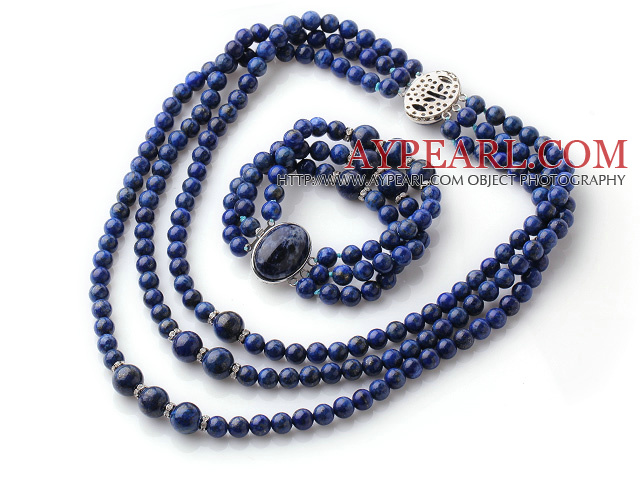 Newly Cool Style Three Strands Round Lapis Beaded Jewelry Set (Necklace with Matched Bracelet)