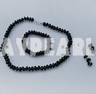 Wholesale 10mm black agate necklace bracelet earring set