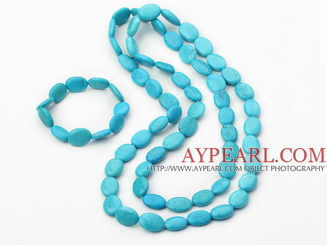 Fashion 12*18Mm Oval Blue Turquoise Jewelry Sets (Necklace With Matched Bracelet)