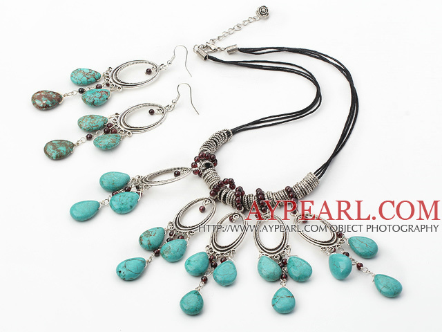 Fashion Round Garnet And Blue Teardrop Turquoise Necklace Earrings Set