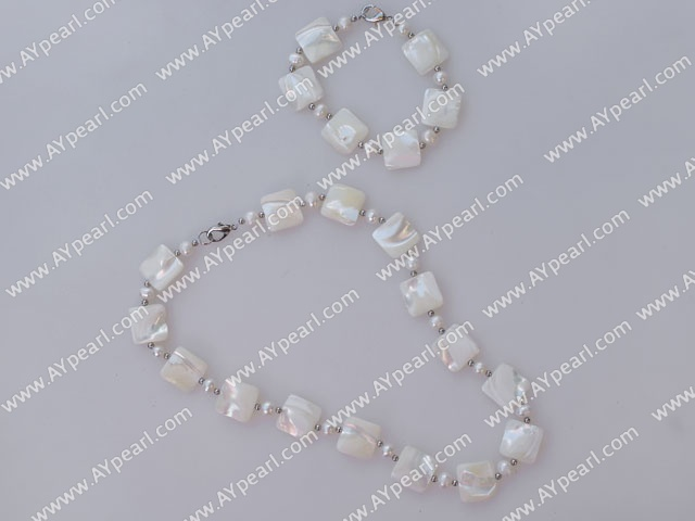 white pearl and white lip shell necklace with matched bracelet