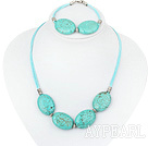 Wholesale 20*30mm turquoise necklace bracelet set with extendable chain