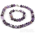 Elegant Threaded Amethyst Stone Beaded Set (Necklace With Matched Bracelet)