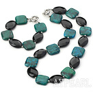 Wholesale Fashion Chunky Style Black Oval Shape Crystal And Square Phoenix Stone Set (Necklace With Matched Bracelet)