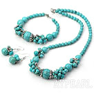 turquoise jewelry set ( Necklace Bracelet and Matched Earrings)