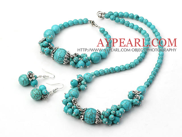 Elegant Round Turquoise Cluster Beaded And Flower Charm Jewelry Sets (Necklace Bracelet With Matched Earrings)