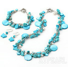 turquoise shell pearl set