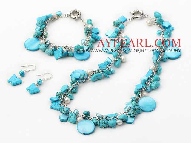 Fashion Multi Color Pearl Turquoise And Mixed Shape Shell Sets (Necklace Bracelet With Matched Earrings)
