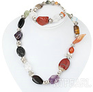 multi color stone tibet silver charm necklace bracelet set