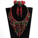 Big Style Square Shape Phoenix Stone Necklace Bracelet And Earrings Set