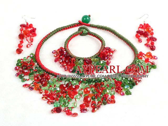 2015 Beautiful Shining Red & Green Crystal Statement Christmas Jewelry Set (Necklace, Bracelet & Earrings)