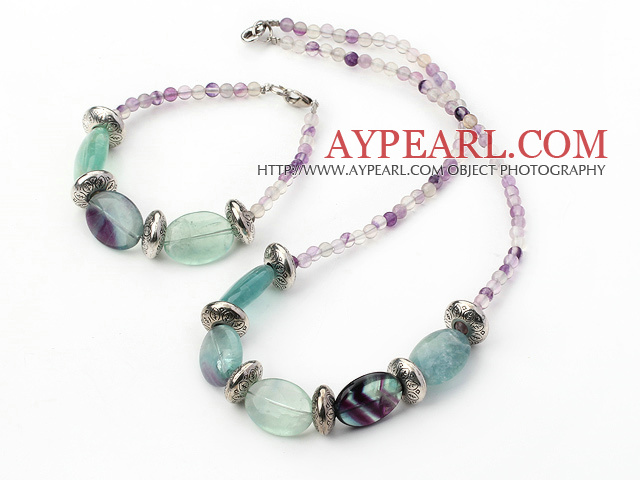 Simple Style Rainbow Fluorite Beaded Necklace Bracelet Set
