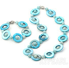 Popular Blue Donut Shell And Round Amazon Stone Beaded Set (Necklace With Matched Bracelet)