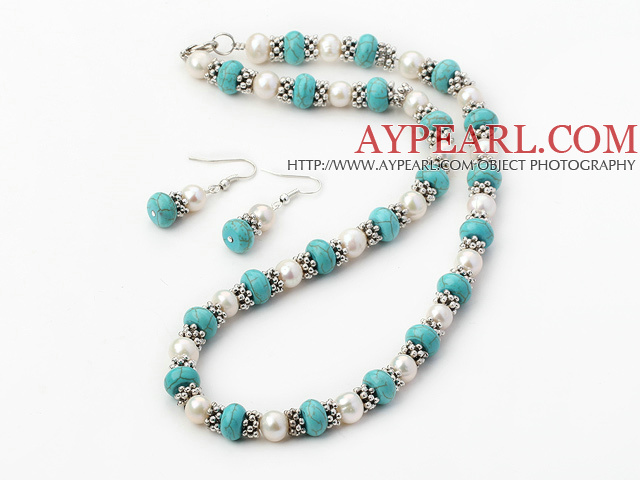 Favorite White Freshwater Pearl And Blue Turquoise Set (Necklace With Matched Earrings)