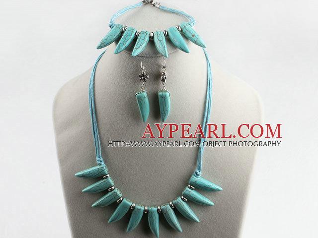 wonderful horn shape turquoise necklace bracelet earrings set