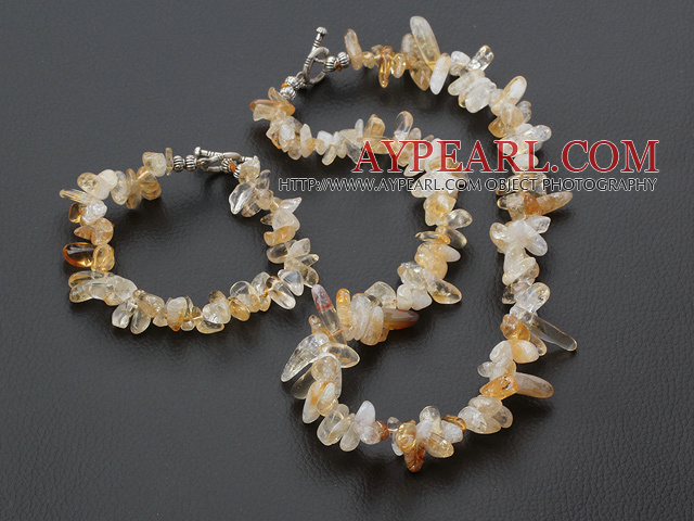 Elegant Irregular Citrine Set With Moonight Clasp (Necklace With Matched Bracelet)