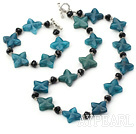 Wonderful Black Crystal And Blue Jade Flower Necklace Bracelet Sets With Toggle Clasp