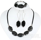 20*30mm black agate necklace bracelet earring set