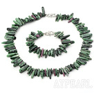 Red And Green Long Teeth Gemstone Necklace Bracelet Set