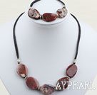 Dark Red Agate Sets( Necklace And Matched Bracelet )