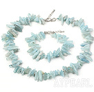Classic Sapphire Blue Aquamarine Long Teeth Gemstone Sets(Necklace With Matched Bracelet)