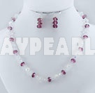 Fashion White And Purple Crystal Set(Necklace With Matched Earrings)