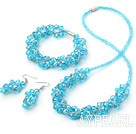 Wholesale Fashion style blue manmade crystal sets( necklace bracelet and matched earrings)