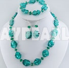 Nice Deep Green Series Irregular Shape Colored Glaze And Crystal Sets (Necklace Bracelet With Matched Earrings)