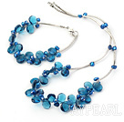 Fashion Dark Blue Freshwater Pearl And Teardrop Crystal Wired Jewelry Sets (Necklace With Matched Bracelet)