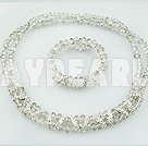 Popular 8Mm Manmade Light Gray Crystal Beaded Sets (Necklace With Matched Bracelet)