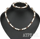 7-8Mm Natural White Freshwater Pearl And Smoky Color Crystal Set (Necklace With Matched Bracelet)
