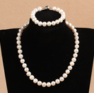 Graceful Hot Sale 9-10mm Natural Smooth White Pearl Jewelry Set (Necklace & Bracelet)