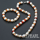 Fashion White Freshwater Pearl And Red Agate Beaded Jewelry Sets (Necklace With Matched Bracelet)