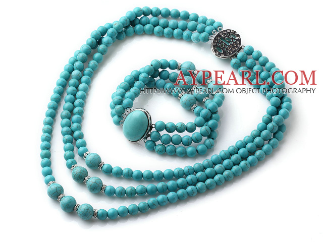 Elegant Design Three Strands Round Blue Turquoise Beaded Jewelry Set (Necklace with Matched Bracelet)
