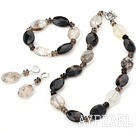 Fashion Mixed Color Crystal Visional Smoky Quartz Set(Necklace, Bracelet With Matched Earrings)