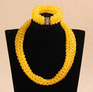 Luxurious Sparkly Multi Layer Yellow Cyrstal Chunky Costume Party Jewelry Set (Necklace & Bracelet)
