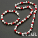 Elegant White Freshwater Pearl And Red Coral Set(Necklace With Matched Bracelet)