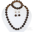 Wholesale 14mm smoky quartz set(necklace, bracelet, earrings)