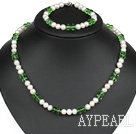 7-8Mm Natural White Freshwater Pearl And Green Crystal Set (Necklace With Matched Bracelet)