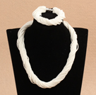 Popular Style Multi Strands White Mini Beads Twisted Chunky Party Jewelry Set (Necklace & Bracelet)