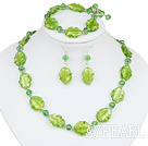 Nice Green Series Irregular Shape Colored Glaze And Crystal Sets (Necklace Bracelet With Matched Earrings)