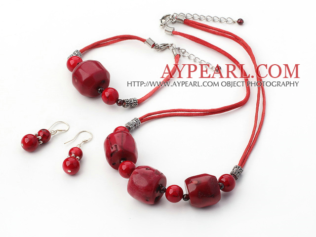 Simple String&Strand Red Coral Set(Necklace, Bracelet And Matched Earrings)