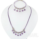 10mm round amethyst necklace bracelet set with extendable chain