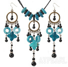 Fashion Round Black Agate And Donut Flower Shape Blue Jade Pendant Jewelry Sets (Necklace With Matched Earrings)