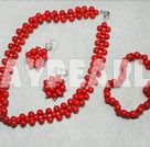 red coral necklace bracelet and earrings set