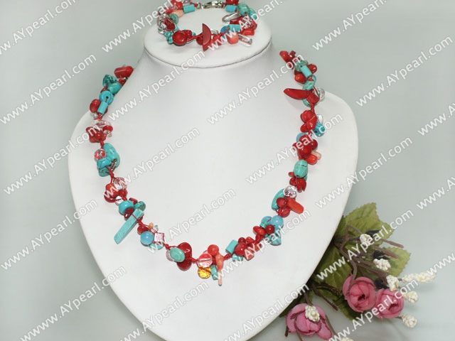 Beautiful Multi Blue Turquose And Red Coral Necklace Bracelet Set