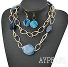 Wholesale blue agate necklace earrings set with big metal loops