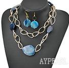 Wholesale blue agate necklace earrings set with big metal loops